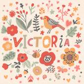 beautiful floral card with name Victoria