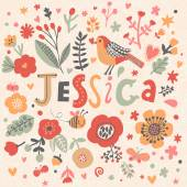 beautiful floral card with name Jessica
