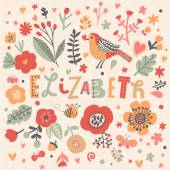 beautiful floral card with name Elizabeth