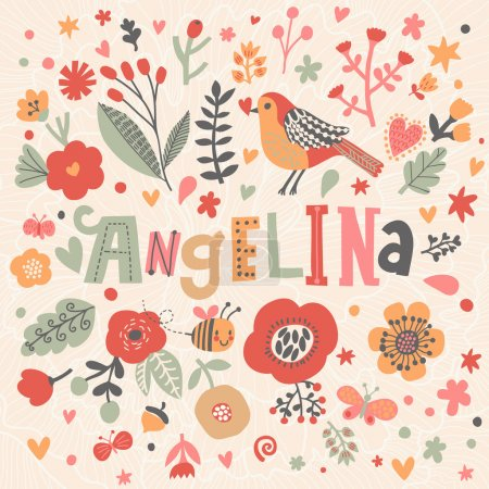 beautiful floral card with name