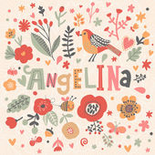 beautiful floral card with name Angelina