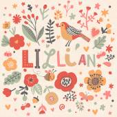 beautiful floral card with name Lillian