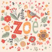 beautiful floral card with name Zoe