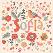 beautiful floral card with name Sofia