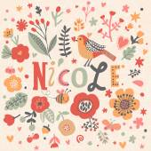 beautiful floral card with name Nicole