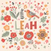 beautiful floral card with name Leah