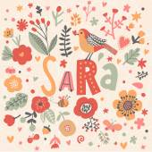 beautiful floral card with name Sara