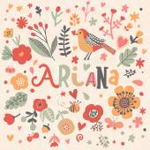 beautiful floral card with name Ariana