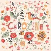 Floral decorative card with name Caroline
