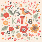 beautiful floral card with name Katie