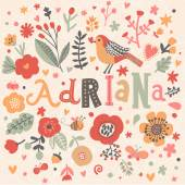 floral card with name Adriana