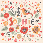 bright floral card with name Sophie
