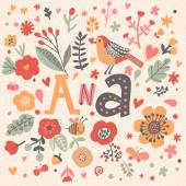 Bright floral card with name Ana