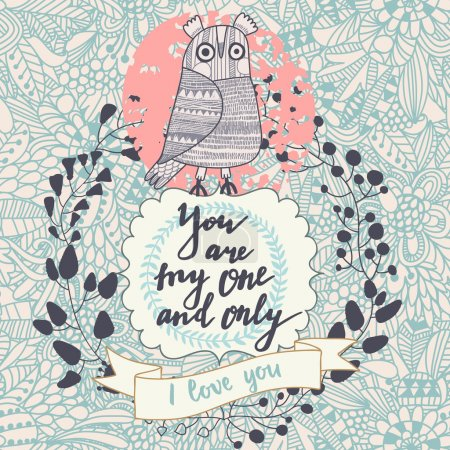 Greeting card with owl and wreath