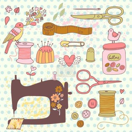 needlework, sewing  concept cartoon set