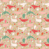 sea color whales pattern