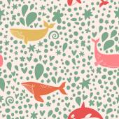 color sea whales pattern