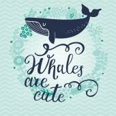 Card with cute cartoon whale watercolor illustration sea life concept
