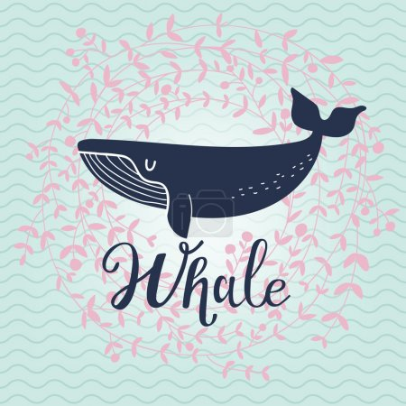 blue cartoon whale card