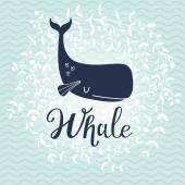 Blue cartoon whale card