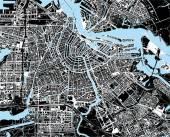 "Постер, картина, фотообои ""черно-белая карта города Амстердама"""