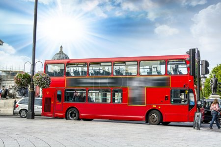 The red double decker bus....