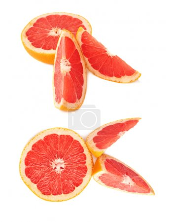 Served grapefruit composition isolated over the white background