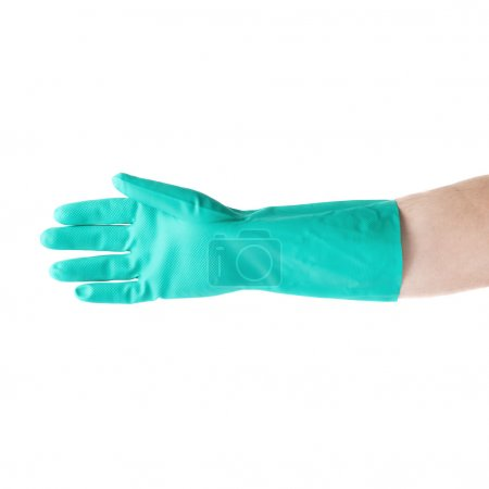Hand in rubber latex glove over white isolated background