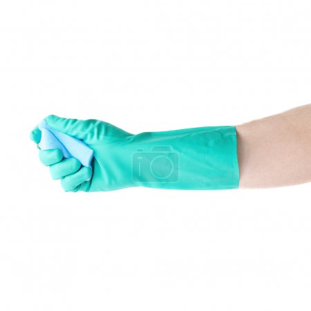 Hand in rubber latex glove holding kitchen sponge over white isolated background