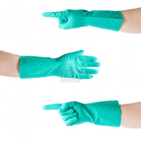 Set of hands in rubber latex glove  over white isolated background