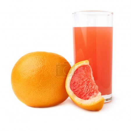 Tall glass filled with the grapefruit juice and fruits, composition isolated over the white background