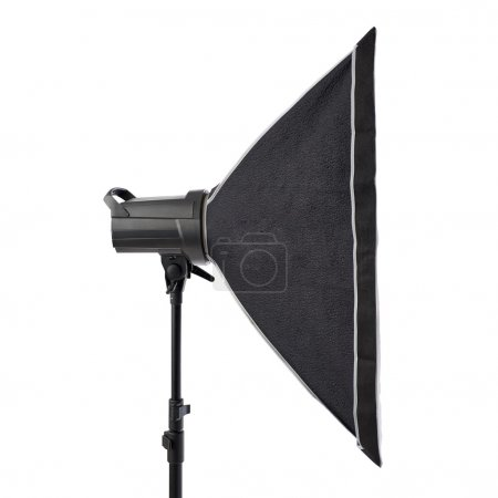 Studio flash on a stand over isolated white background