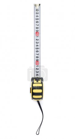 Measuring tape over isolated white background