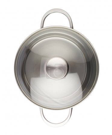 Photo for Stainless steel metal cooking pot pan over isolated white background - Royalty Free Image