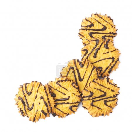Pile of cookies isolated over the white background