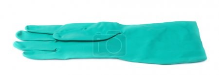 Rubber latex green glove over white isolated background