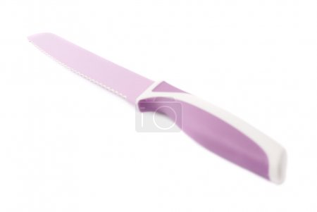 Steel violet knife isolated over the white background