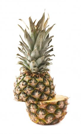 Photo for Cut raw fresh pineapple isolated over white background - Royalty Free Image