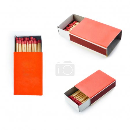 Set of Pile of Wooden matches isolated over the white background