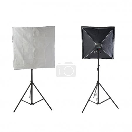 Set of Studio flash on a stand over isolated white background