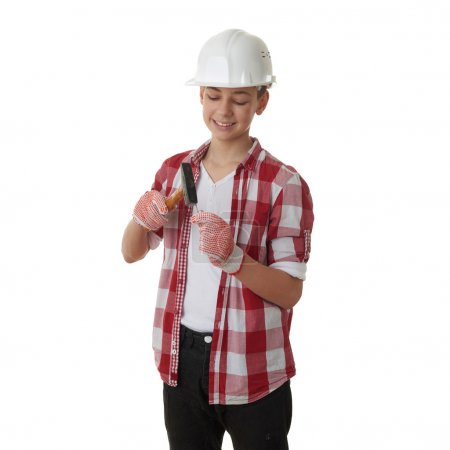 Cute teenager boy over white isolated background