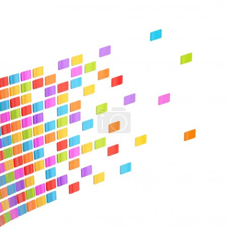 Photo pour Composition abstraite de fond faite de multiples tuiles brillantes colorées sur le fond blanc - image libre de droit