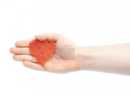 Male hand with heart