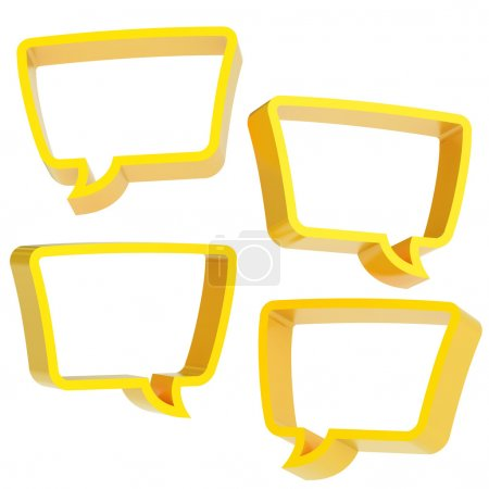 Photo for Text bubble yellow dimensional shapes isolated over the white background, set of four foreshortenings - Royalty Free Image