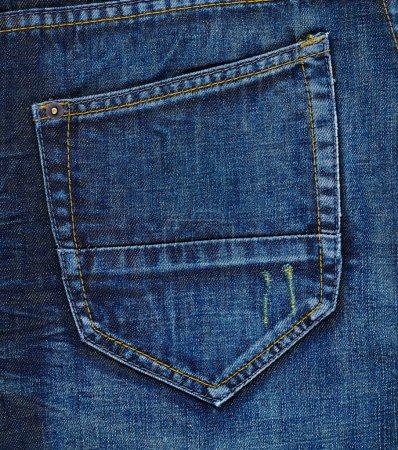 Navy blue jeans back pocket