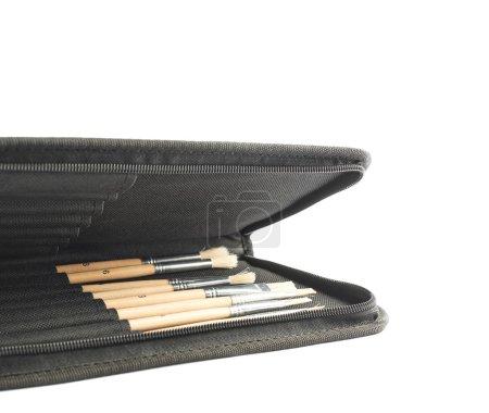 Black case for brushes
