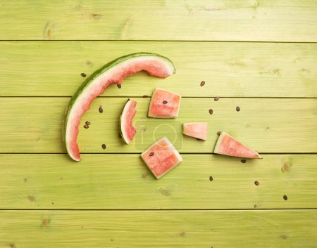 Eaten watermelon slices