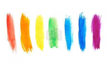 Photo for Seven rainbow colored watercolor paint strokes over the white background - Royalty Free Image