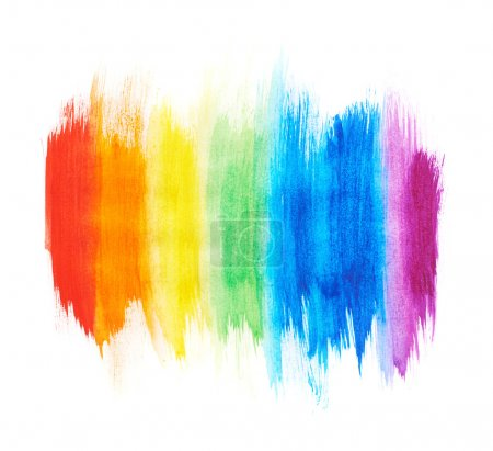Photo for Rainbow gradient made with the watercolor paint strokes over the white background - Royalty Free Image
