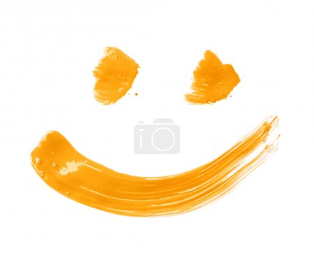 Photo for Smile or smiley face drawn with oil paint brush strokes, isolated over the white background - Royalty Free Image